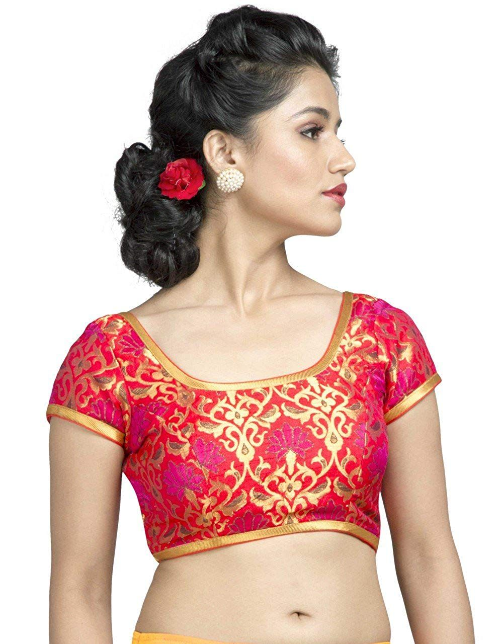 124172a380a61 Vamas Brocade Back Open Hooks Half Sleeves Saree Blouse (X-536Sl)   Amazon.in  Clothing   Accessories