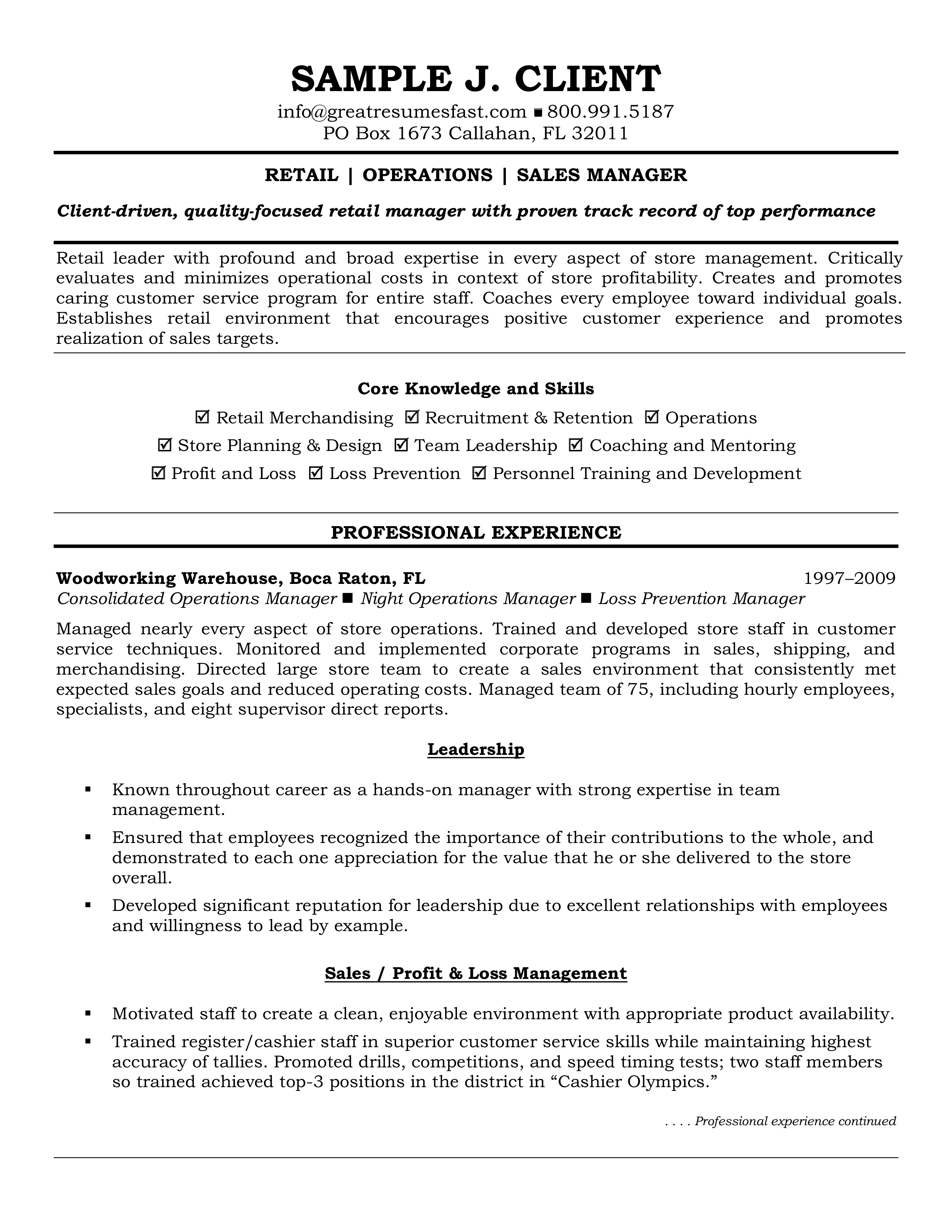 Retail Operations Manager Resume How To Draft A Retail Operations