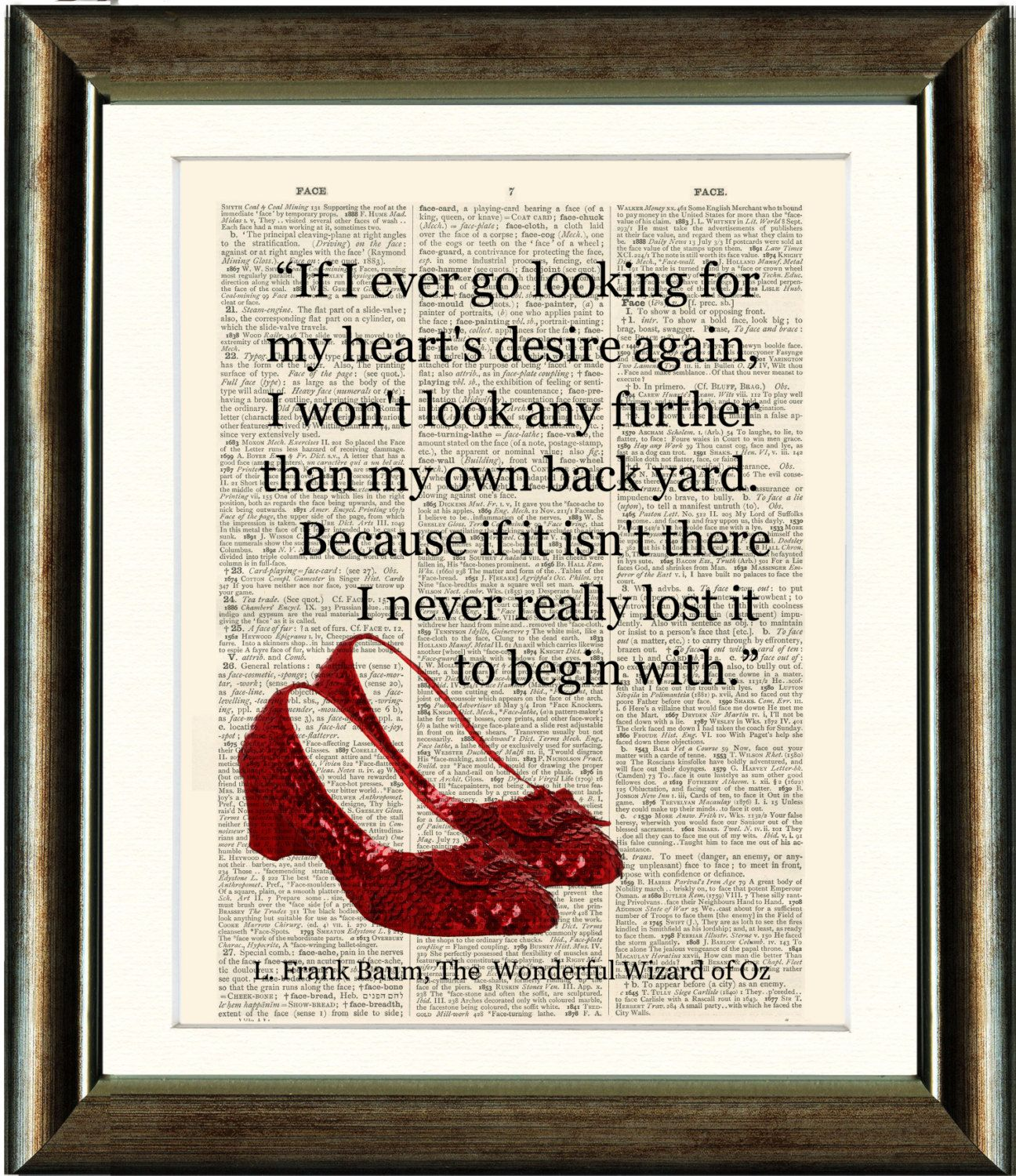 Wizard Of Oz Love Quotes Ruby Slipperswizard Of Oz Heart Quote Vintagepixelartprints