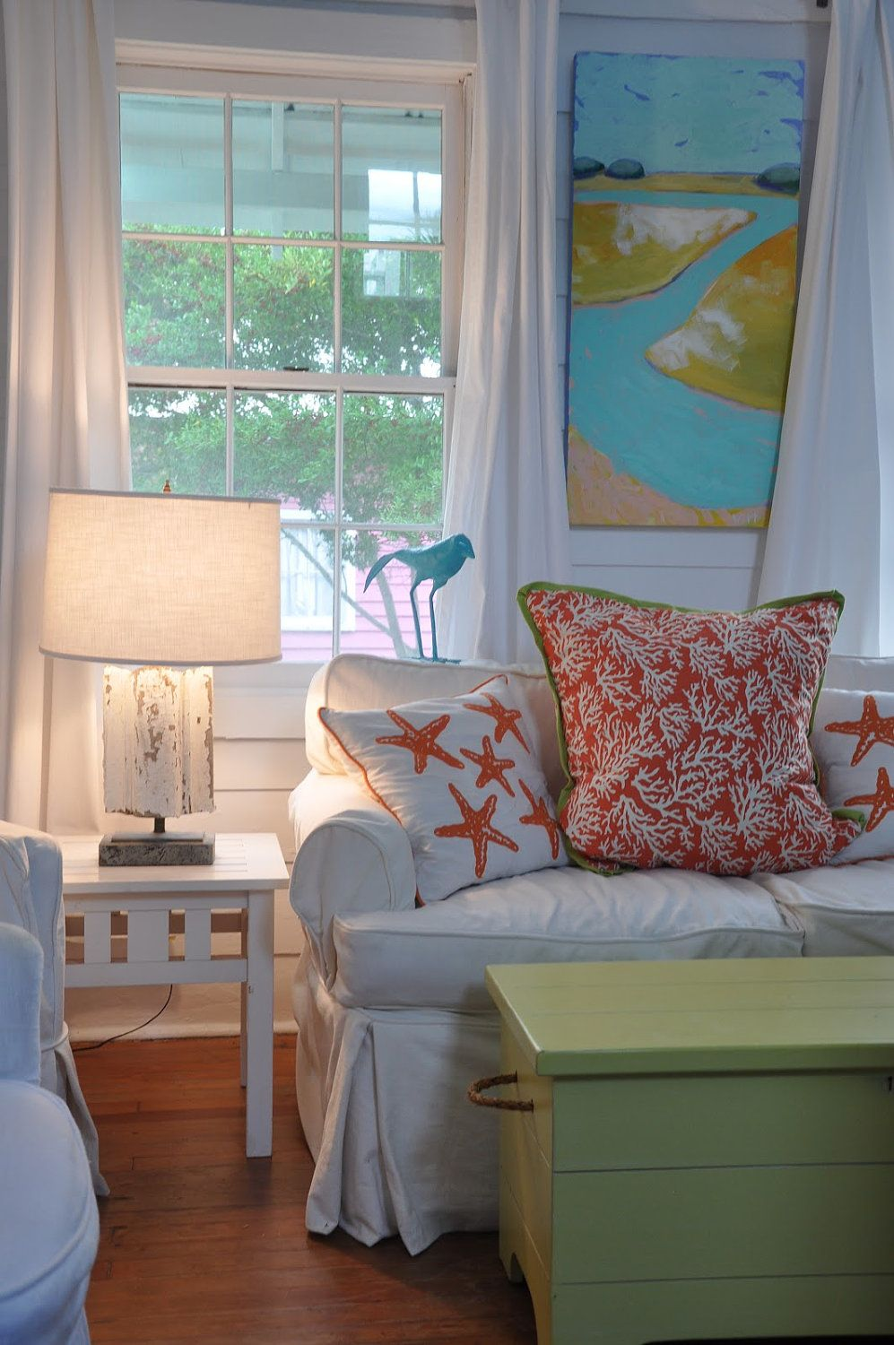 Tangerine Coral Pillow with Lime Green trim. 75.00, via