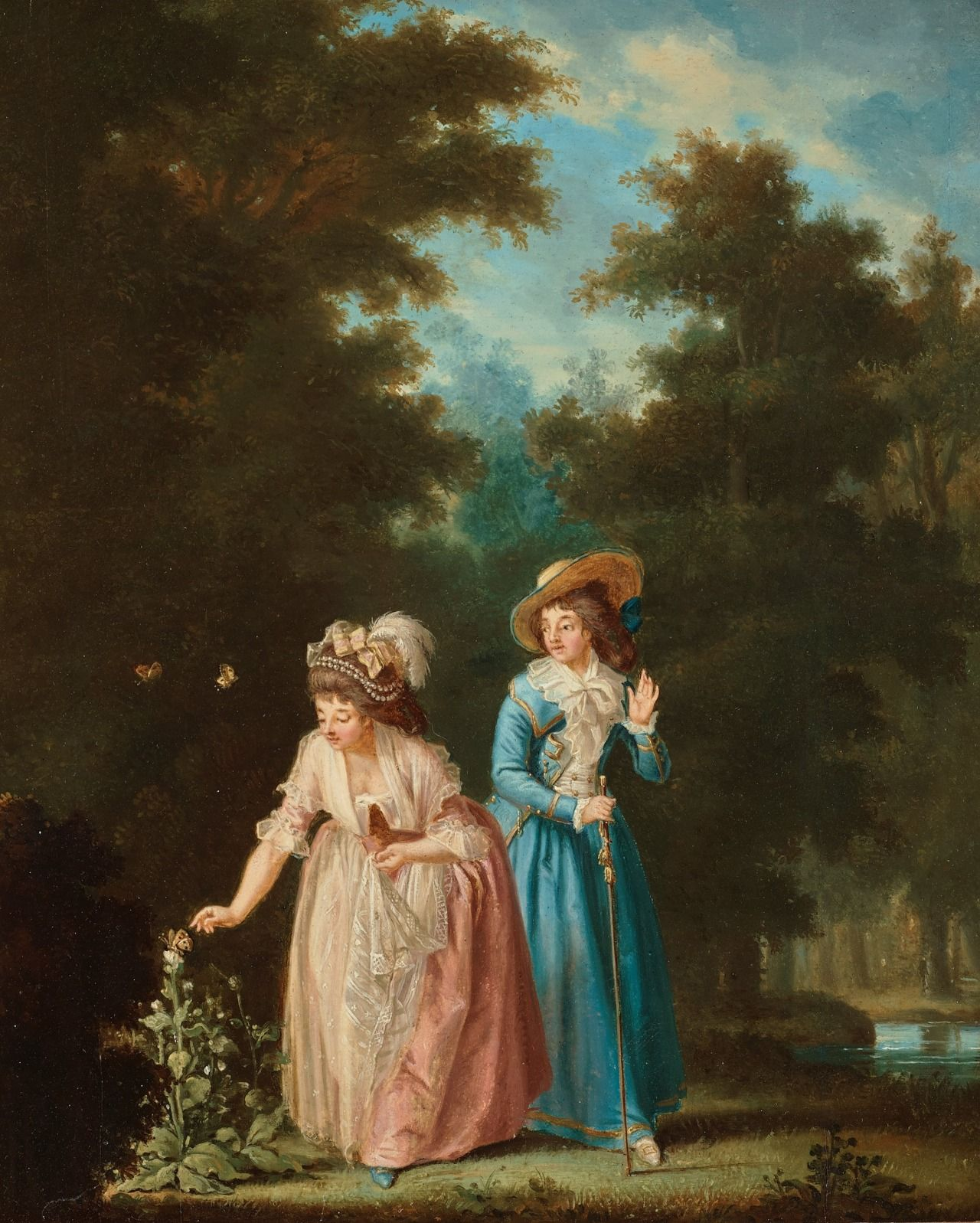 Pehr Hilleström (1732 – 1816) - Two ladies trying to catch a butterfly, 1787