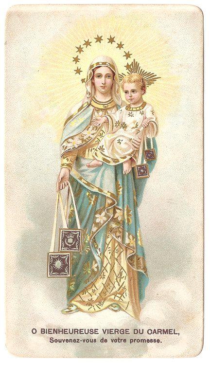 Virgin Of Carmel Amp Baby Jesus Vintage French Holy Prayer