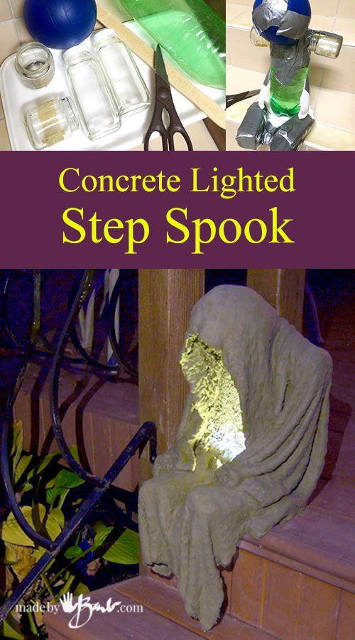 Concrete Lighted Step-Spook madebybarb draped concrete Concrete - creepy halloween decorations homemade
