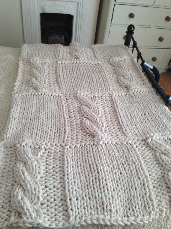 Chunky Cream Hand Knitted Blanket / Double Bed Throw ...