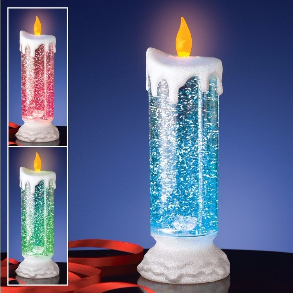 color changing led lights snow globe christmas candle tabletop mantle decor candle tabletop - Led Christmas Candles