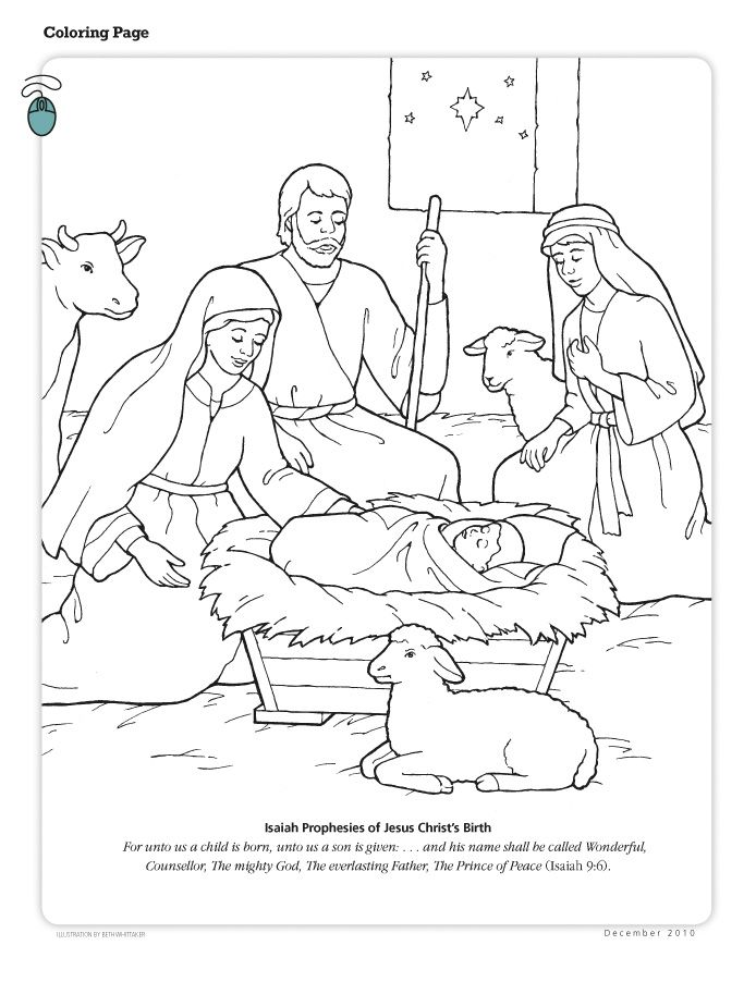Mary and Joseph and baby Jesus Bible coloring pages