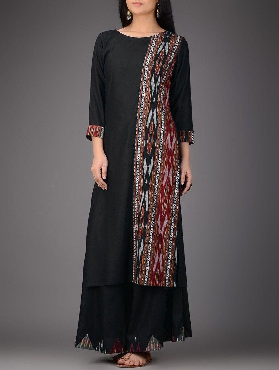 Buy blackred ikat cotton silk kurta online overlays ivory and silk