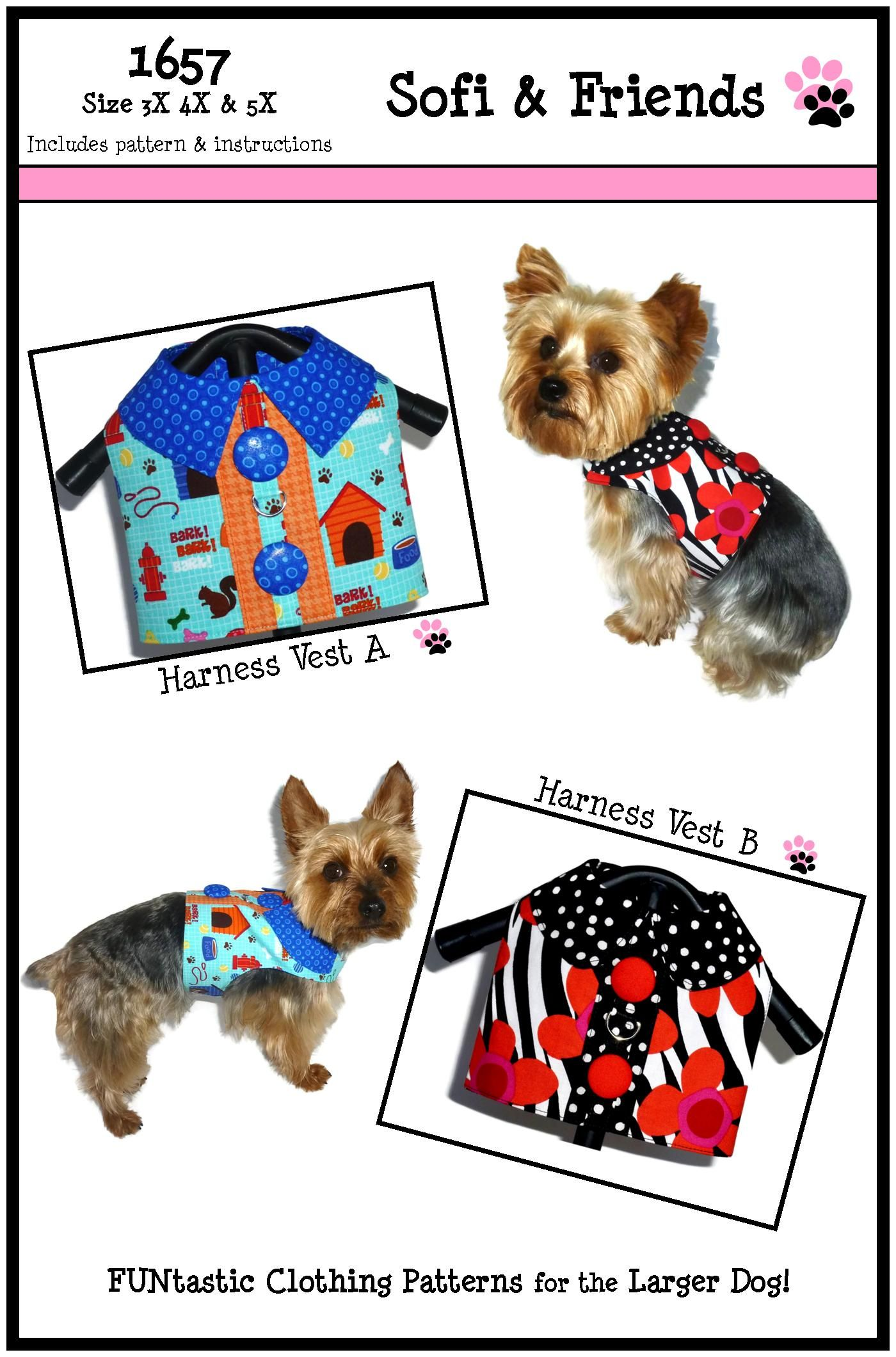 Dog Harness Pattern 1657 Dog Sewing Patterns Dog Vest Small