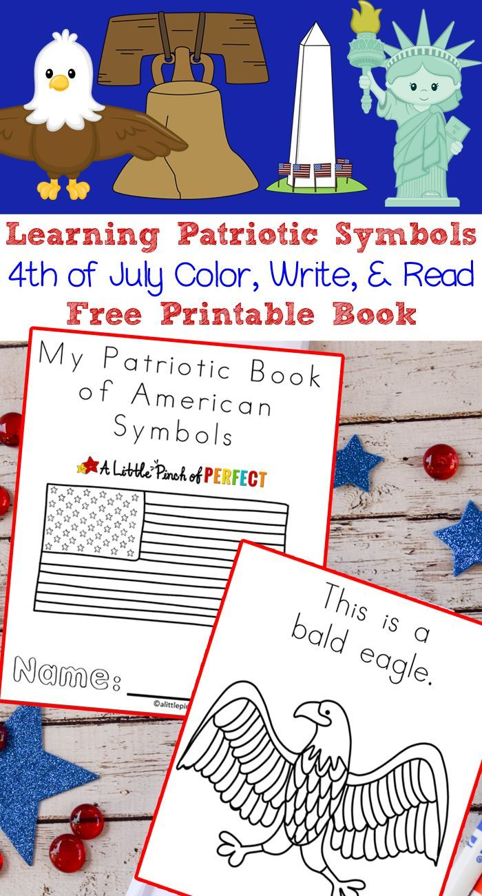 Learning Patriotic Symbols Free Printable 4th of July Book - | Kind