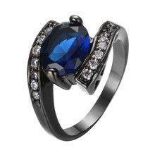 Fashion Blue Sapphire Wedding Ring White CZ Diamond 10KT Black Gold Filled Rings Size 6 7 8 9 10
