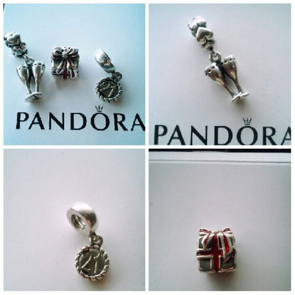 626bdddc4 Pandora Charms Authentic Champagne Cheers Charm, 21 Happy Birthday Charm,  Red Enamel Present Charm. Willing to sell as a bundle deal or separately!!