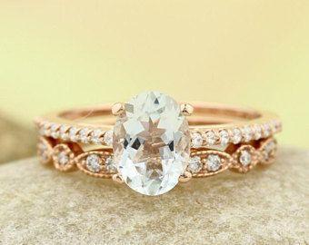 Natürlicher Aquamarin Verlobungsring Set Diamant Ehering Set mit