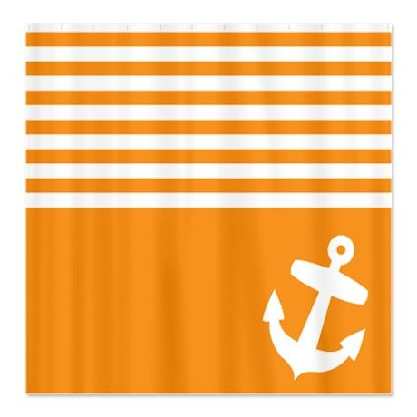 Orange stripes anchor Shower Curtain by InspirationzStore