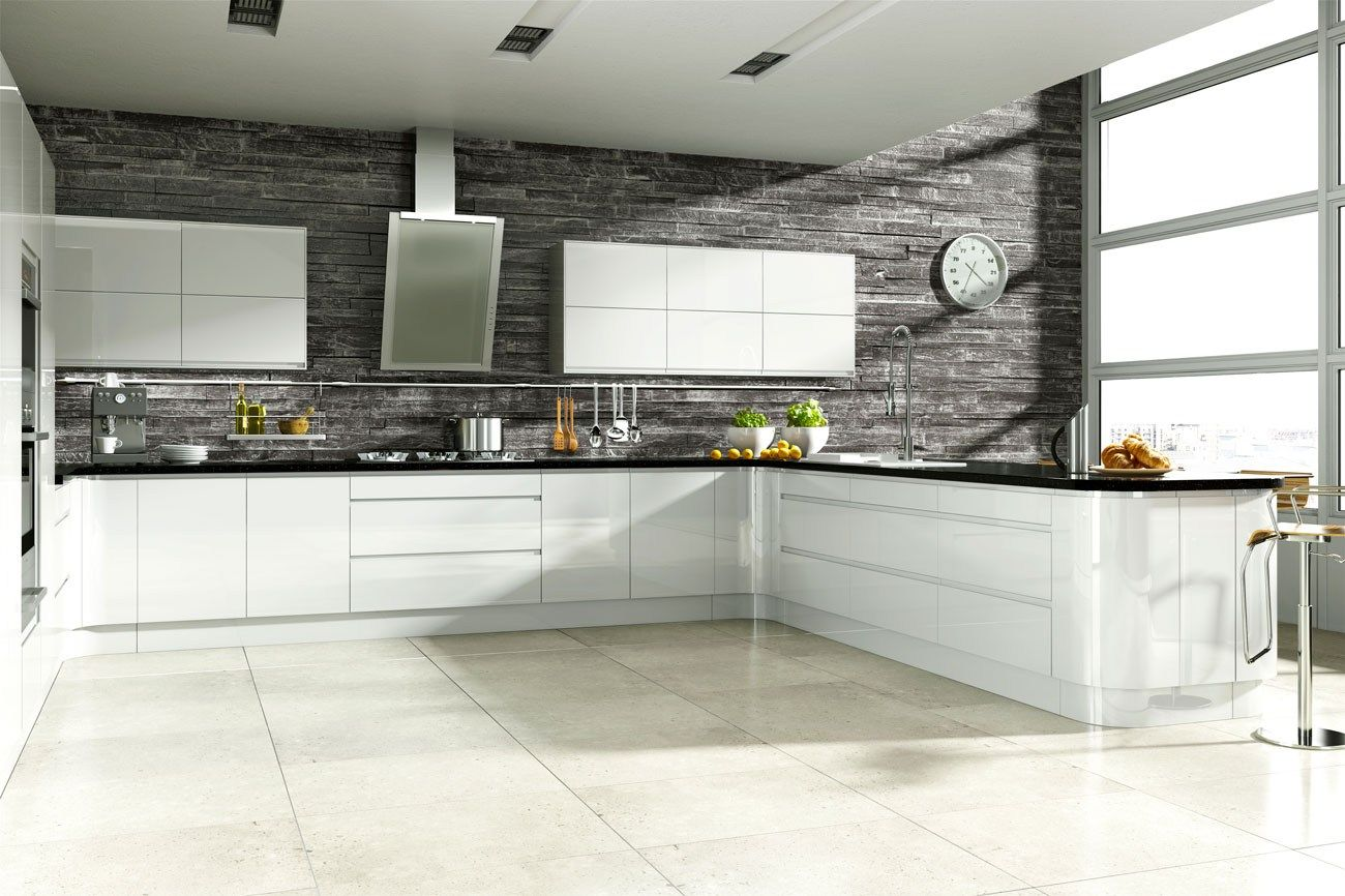 Amazing White Gloss Kitchen Ideas Part - 5: Linear Handleless White Hi-Gloss Kitchen | Fitted Kitchens | Betta Living