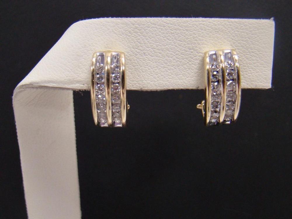 14k Yellow Gold Diamond J Hoop Earrings 1 2 Ct Tw Omega Backs Round Channel Set