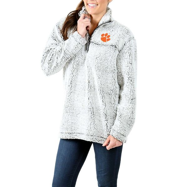 469cfb58aa7eb Clemson Tigers Women s Sherpa Super Soft Quarter-Zip Pullover Jacket - Gray  -  64.99