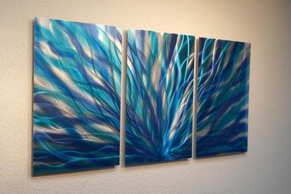 Metal wall art decor abstract contemporary modern sculpture hanging zen textured radiance in blue also aluminum rh pinterest