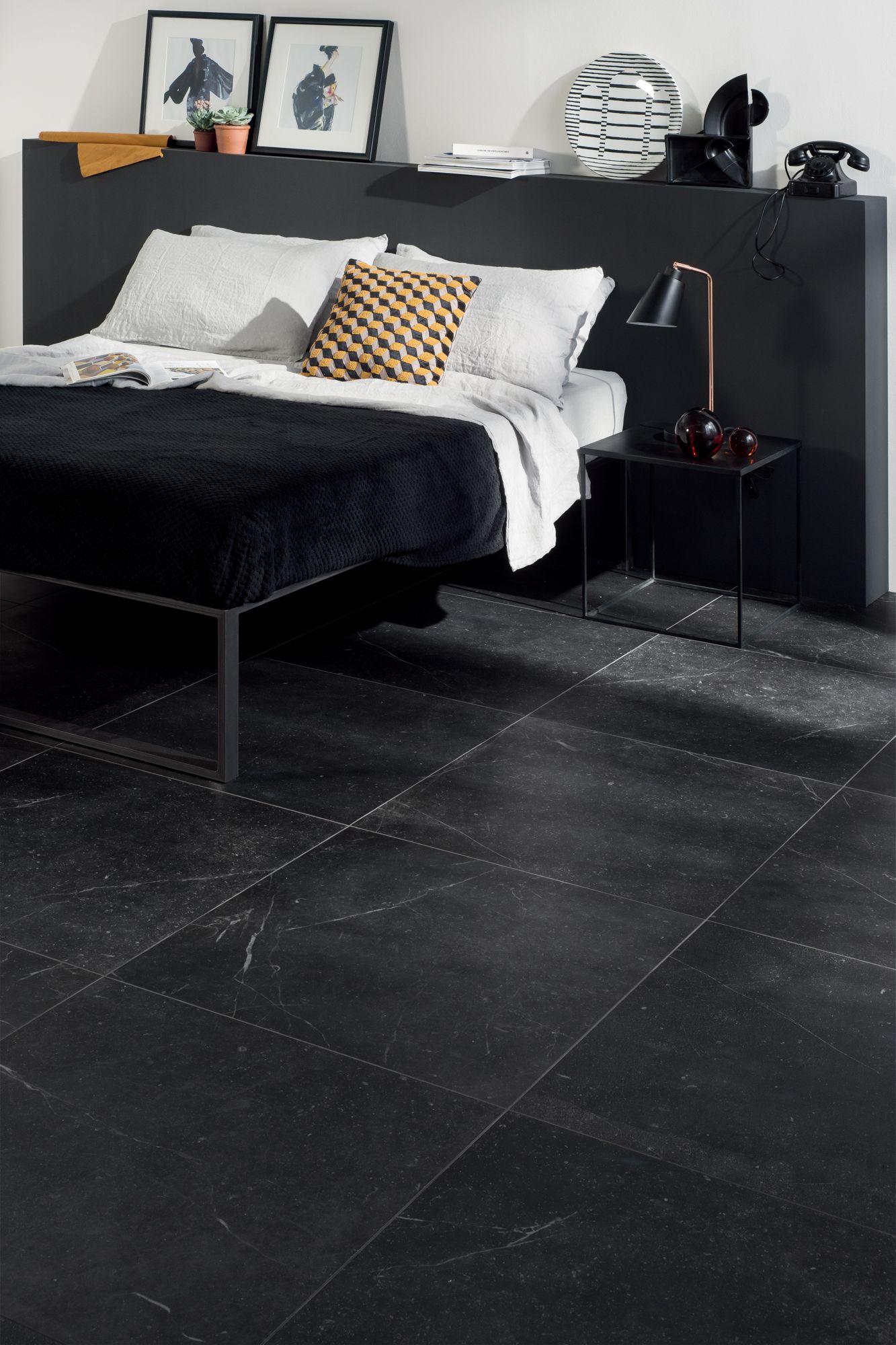 Bedroom Black Tiles Floor Design
