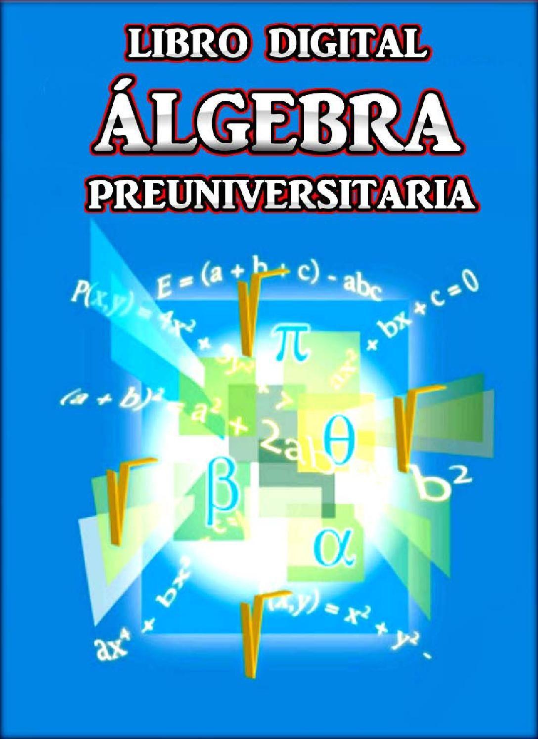Libro Digital Algebra Preuniversitaria Libros De Matematicas