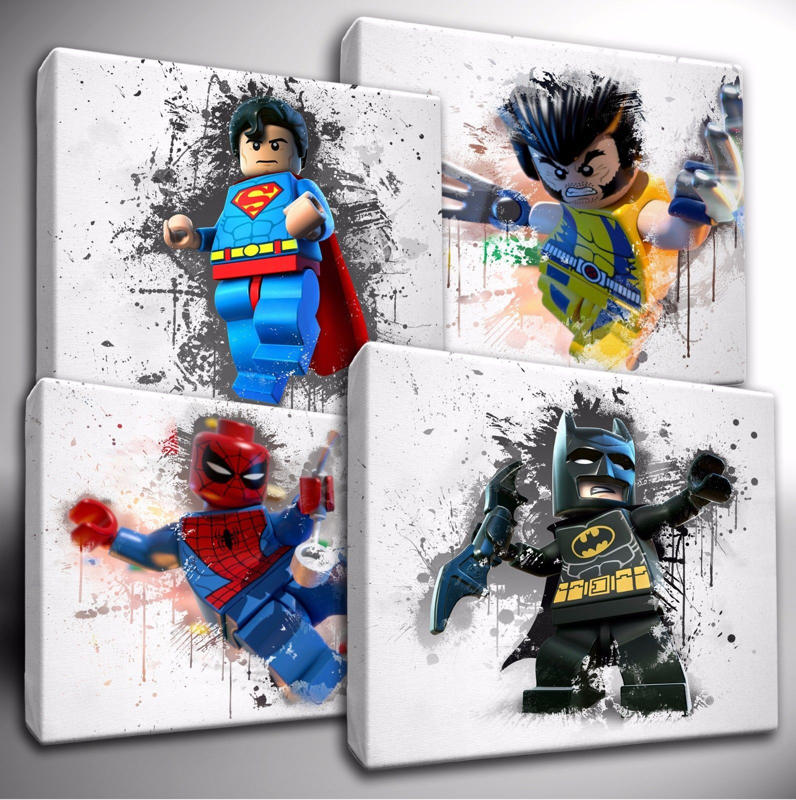 Marvel Wall Art choose your lego marvel / dc characters paint splatter canvas wall