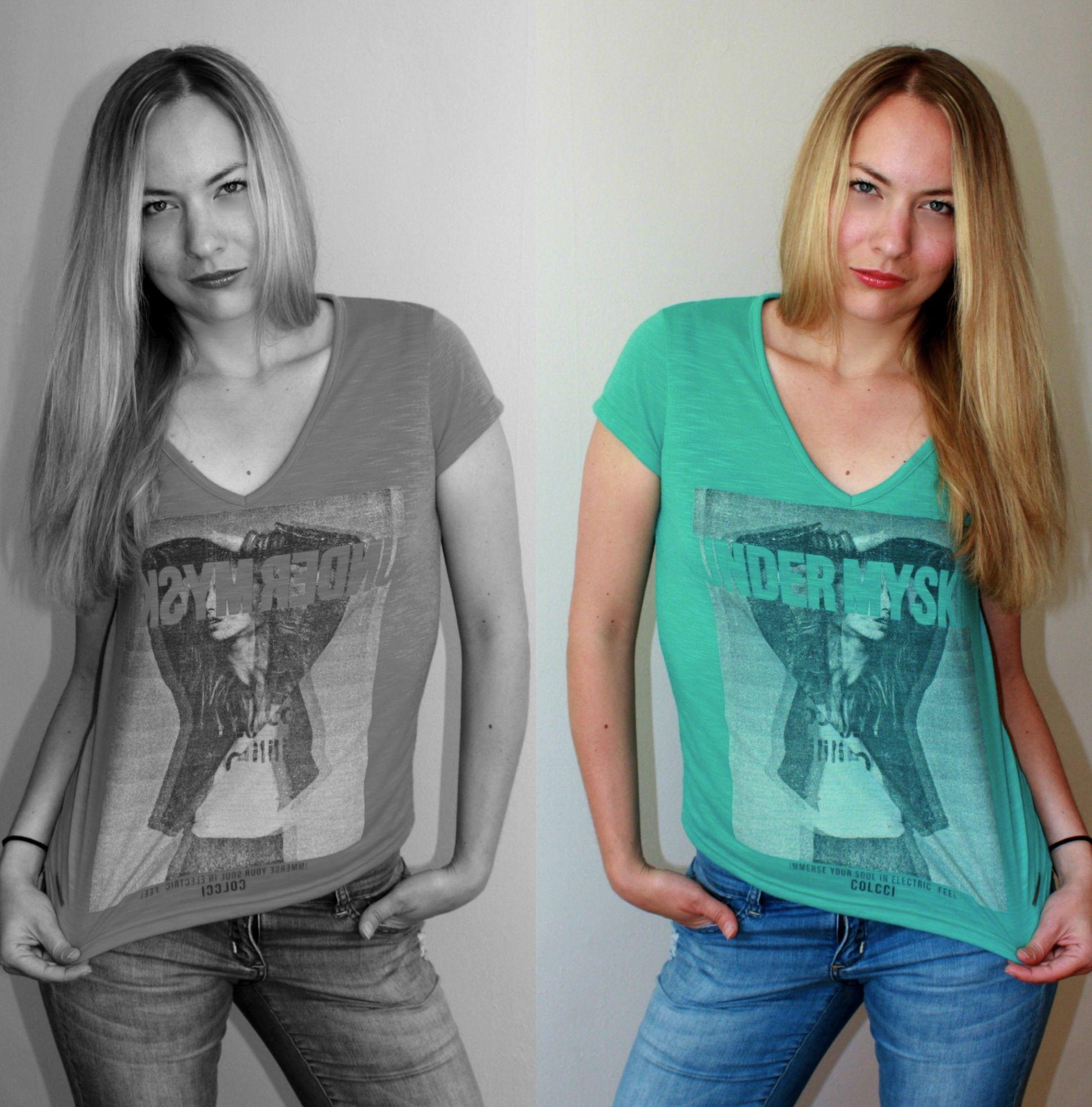 Pour assouvir notre petit côté rebelle...  T-Shirt Colcci Taille/size: M-Médium; 16$