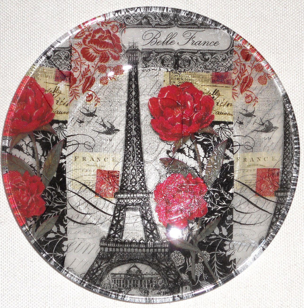 Paris Roses 7 5 Paper Decoupage Glass Plate Eiffel Tower Red Roses Paris Decor Dessert Plate Black Clear Red Semi Paris Decor Decoupage Decoupage Glass