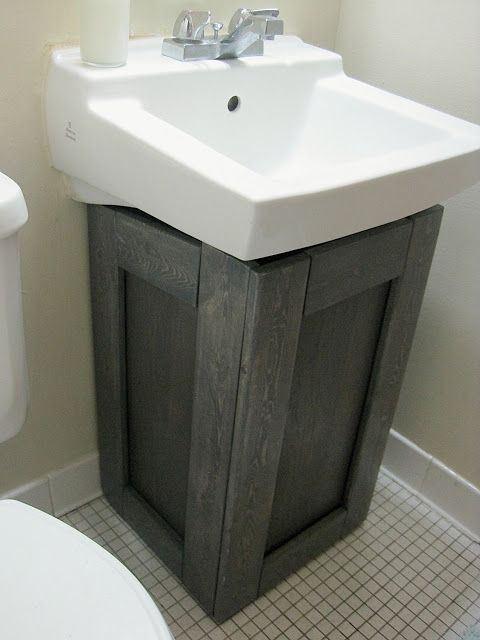 The project lady fake wood cabinet to hide ugly pipes for Diy bathroom sink cabinet