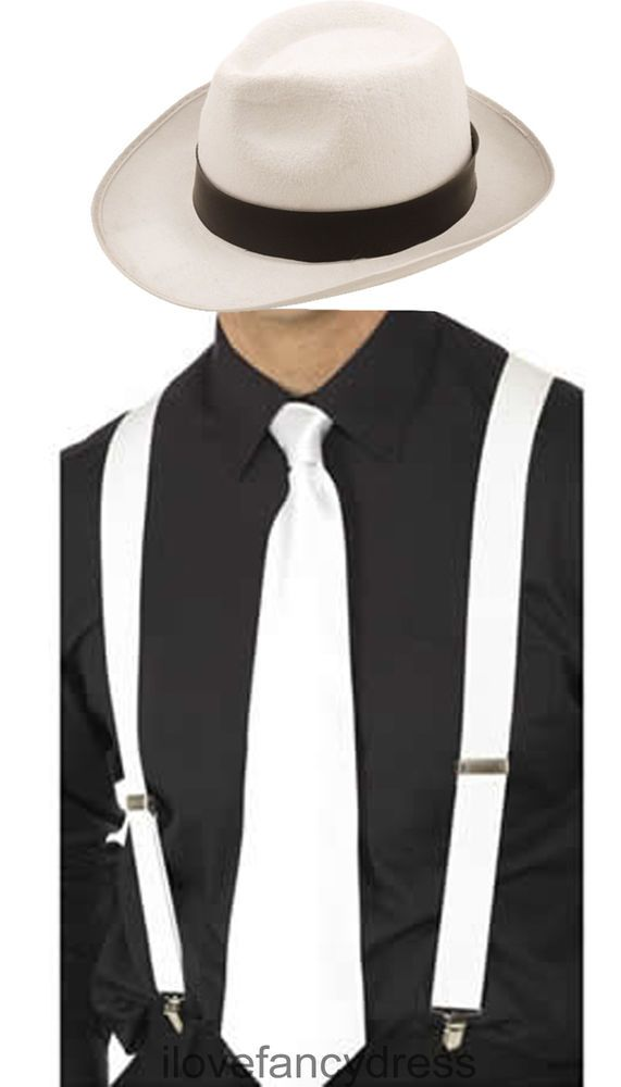 JACKO SET WHITE TRILBY BRACES AND TIE KING OF POP COSTUME GANGSTER FANCY  DRESS 3233881e5a39