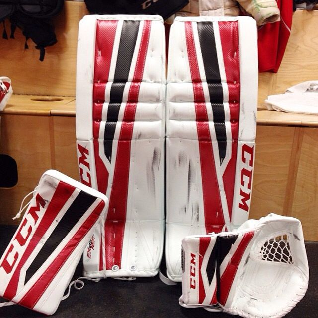 Callum Booth Of The Quebec Remparts Has A New Ccm Eflex 2 Setup To End The Regular Season In Style Goalie Pads Hockey Equipment Goalie Gear