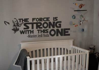 Star Wars The Force Is Strong With This One Yoda Wall Decal Sticker 47 W X 12 H Star Wars Nursery Star Wars Wall Decal Star Wars Bedroom