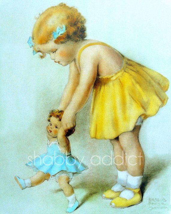 Vintage Nursery Wall Art Print Baby Girl Yellow Dress by InkAndElm ...