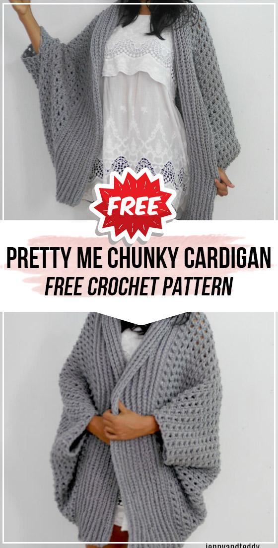 crochet Pretty Me Chunky Cardigan free pattern