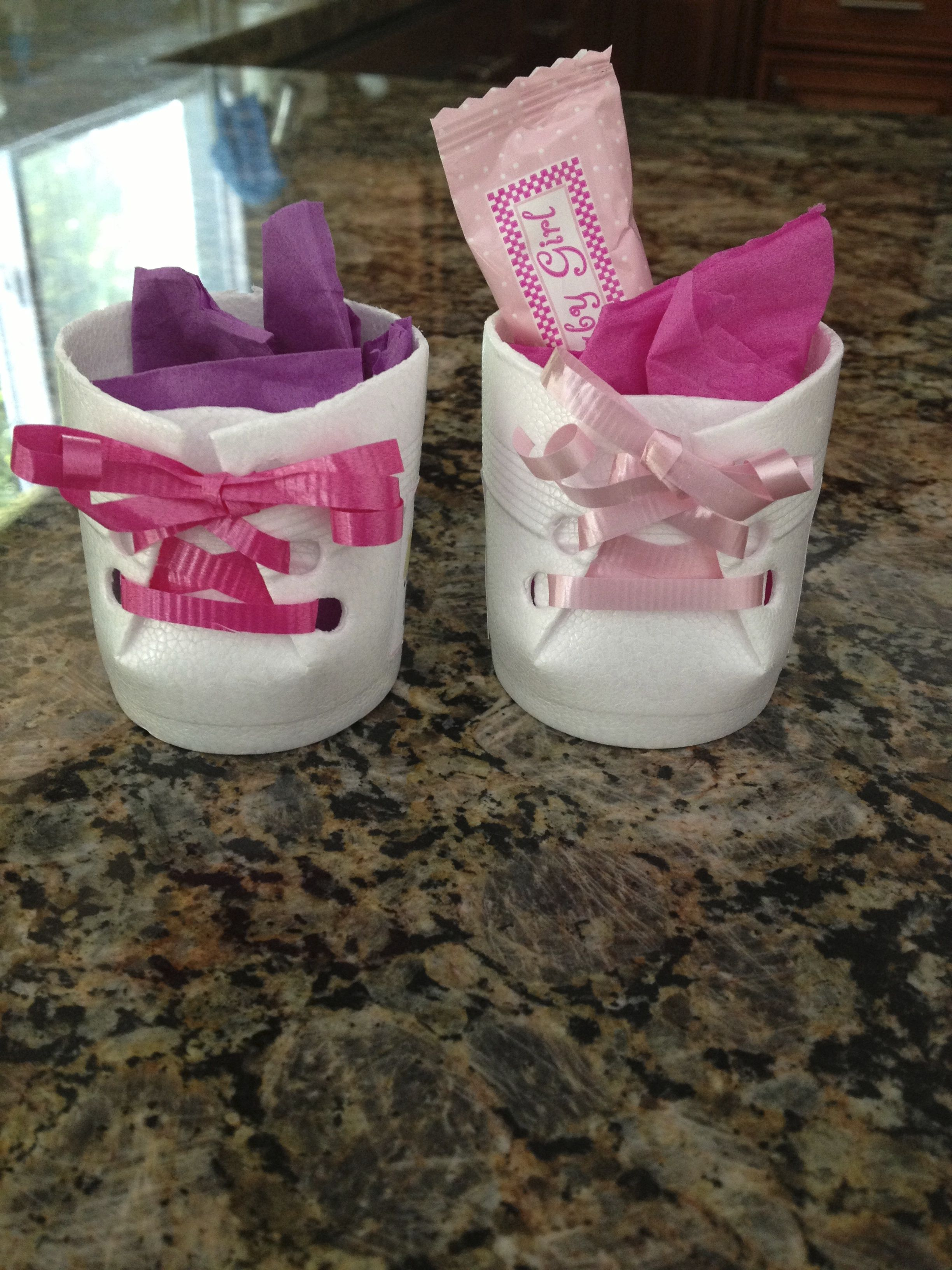 Party Favors Little booties filled with hershey kisses and mints