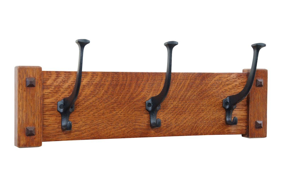 Mission Craftsman Wall Coat Rack With Cast Iron Hooks 18 48 Wide Coat Rack Wall Wall Mounted Coat Rack Wooden Coat Rack