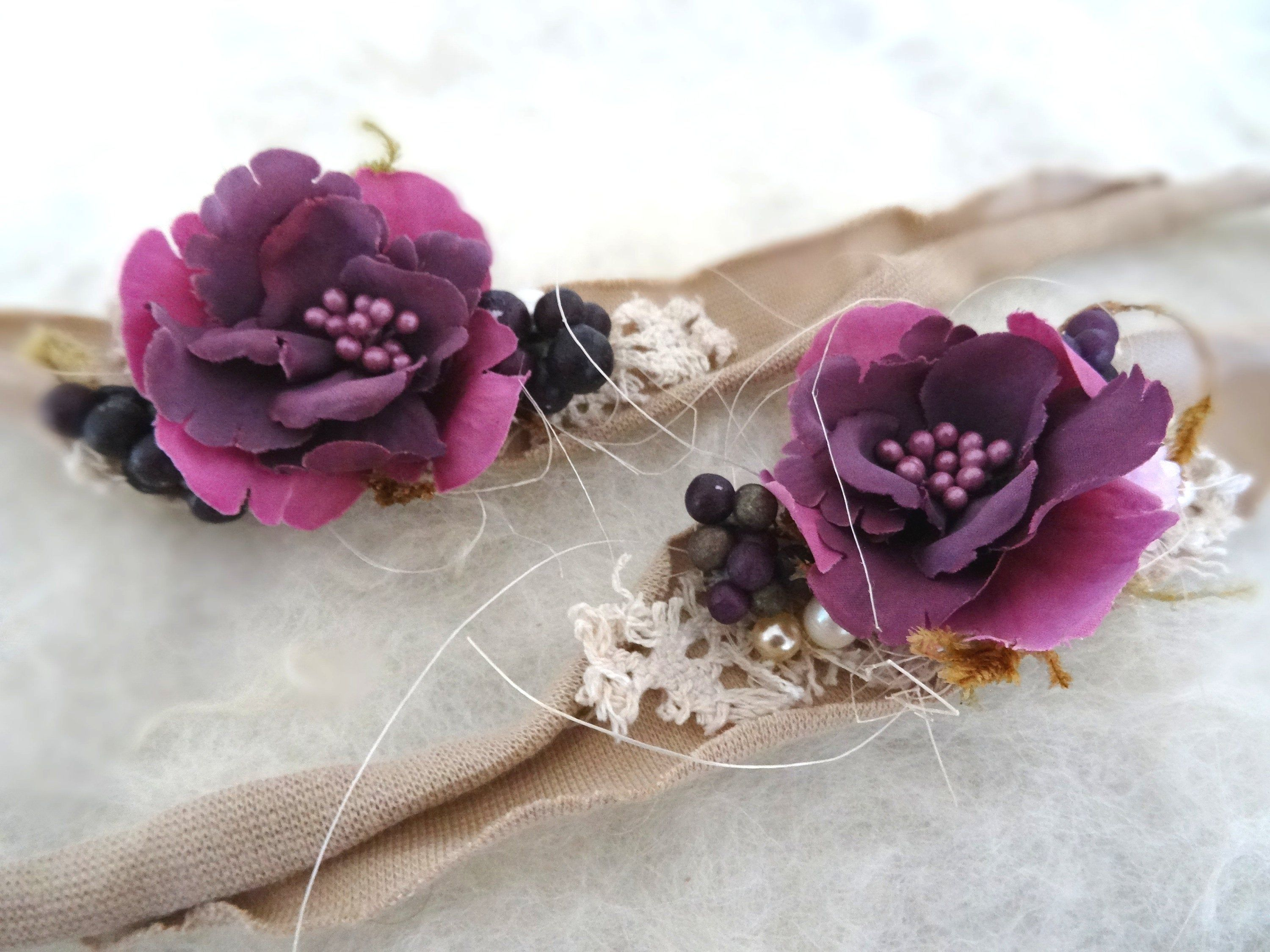 Baby Headband Mauve Flowers Baby Photography Accessory Hair