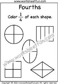 Fractions Fourths Coloring 1/4 One Worksheet