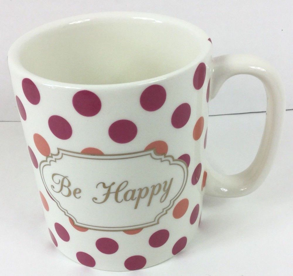 Polka Dot Cup Mug Be Happy Tea Coffee Cup Cute Sweet Positive Inspiration  Gift
