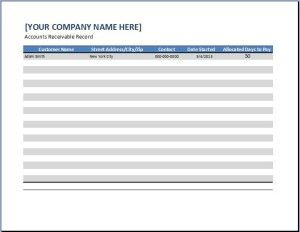 General Business Account Receivable Template  Collection Of