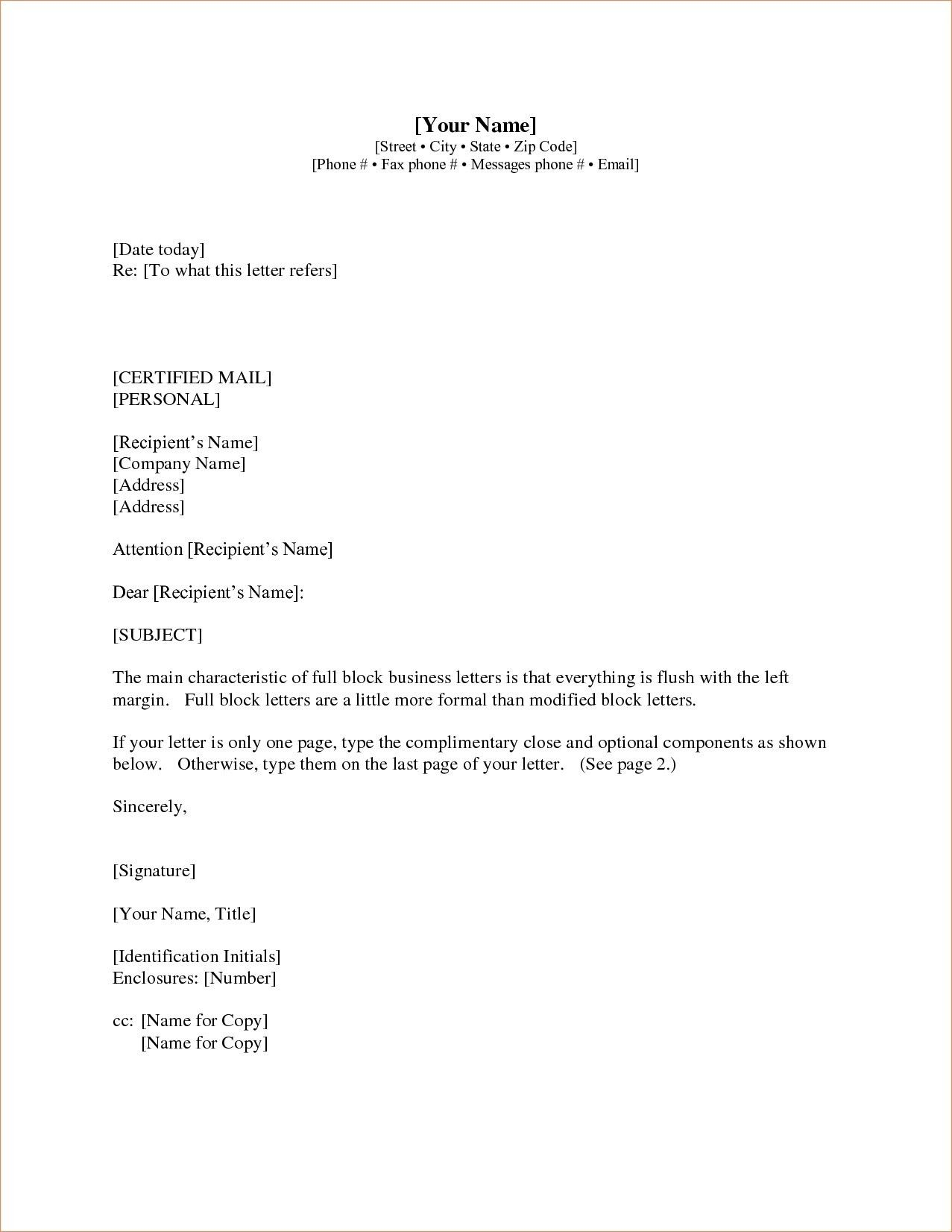 new format for business letter with enclosure and cc