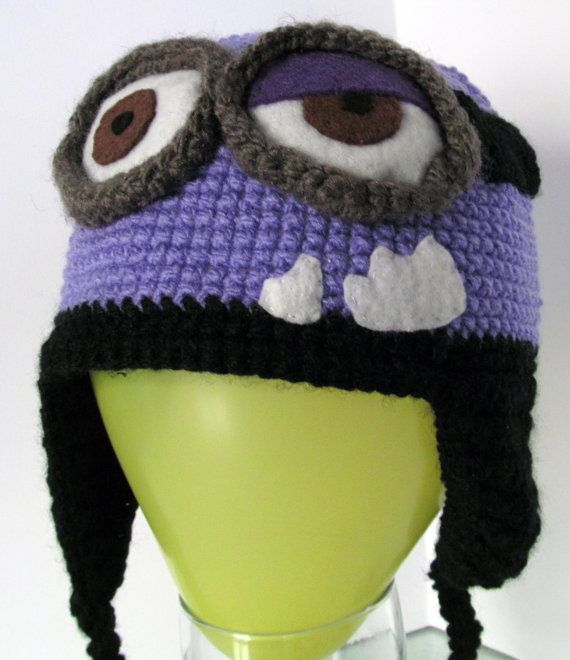 Super Cool Evil Minion Knitted Hat Despicable Me All By Marrocraft