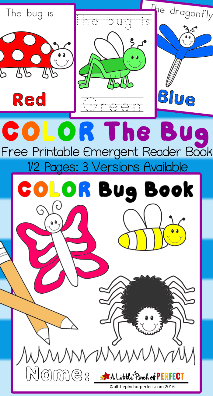 Color The Bug Free Printable Emergent Reader Book Emergent Readers Bugs Preschool Preschool Colors [ 1300 x 700 Pixel ]