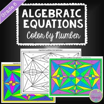 Algebraic Equations Math Color by Number  Color by numbers