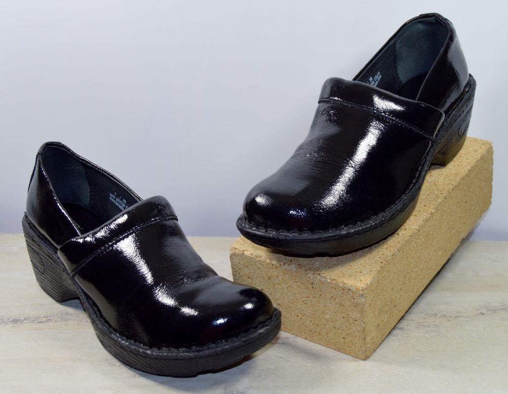 Born Black Patent Leather Clogs Shoes