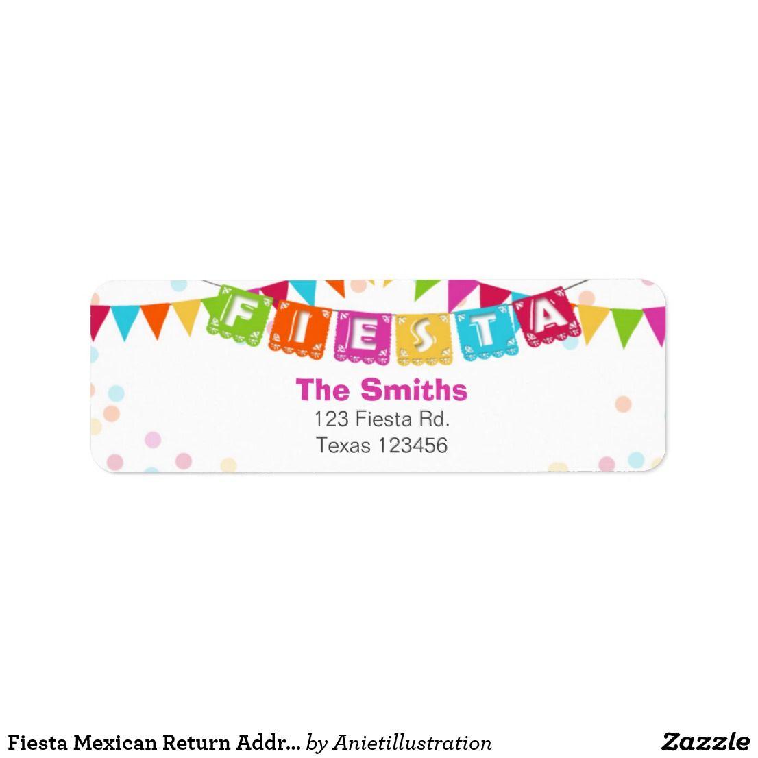 fiesta mexican return address label in 2018 happy birthday