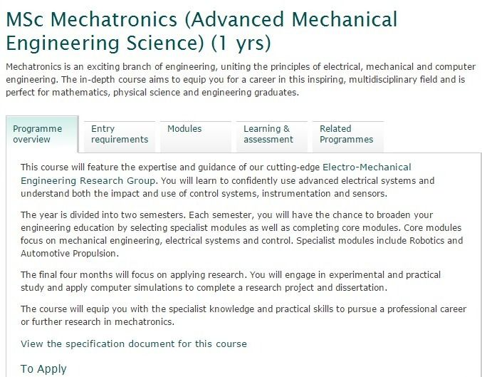 MSc Mechatronics (Advanced Mechanical Engineering Science - mechanical engineer job description