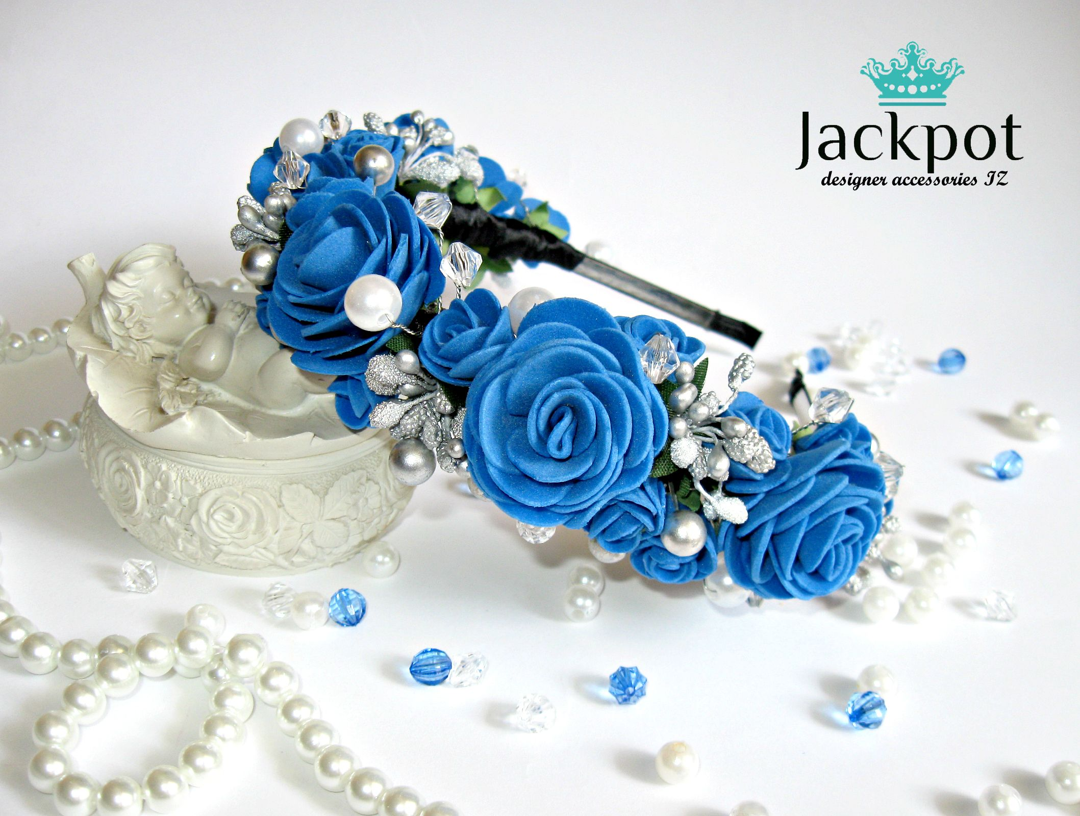 Blue flower crown roses crystals pearls headpiece bridal headband blue flower crown roses crystals pearls headpiece bridal headband maternity photo shoot prom party flower girl izmirmasajfo