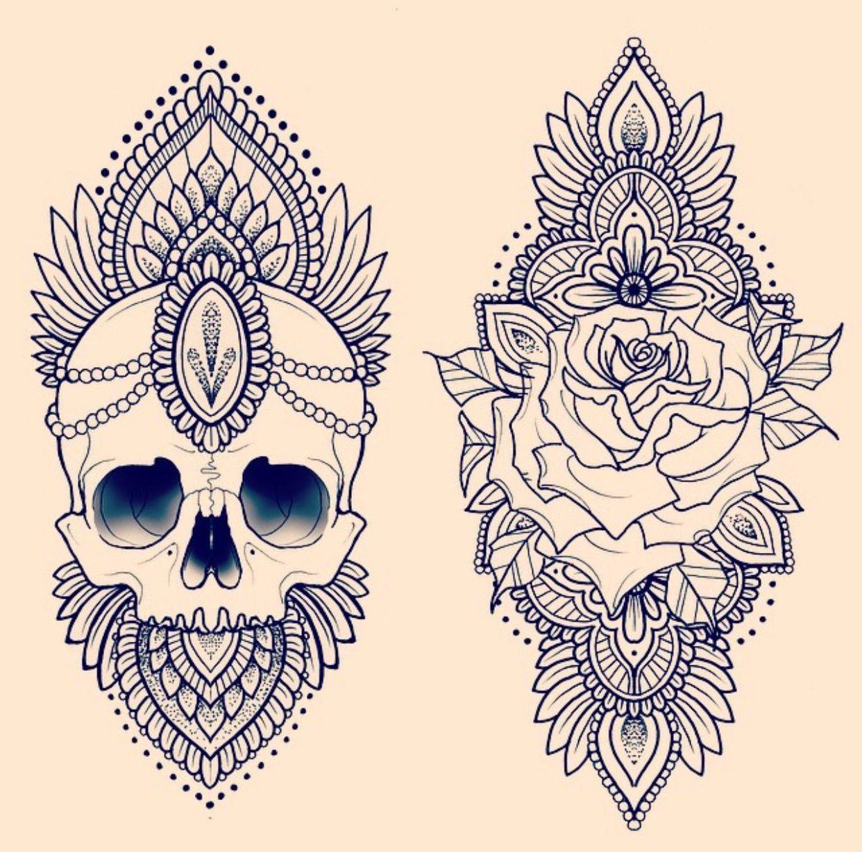 skull and rose mandala how to mandala pinterest mandala tattoo and piercings. Black Bedroom Furniture Sets. Home Design Ideas