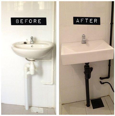 Paint Under Sink Pipes Black Sink Wall Mounted Sink Bathroom Redo