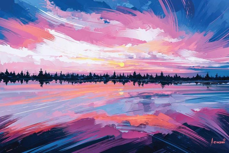 Sky Mirror Canvas Wall Art By Alena Aenami Icanvas In 2021 Pink Abstract Painting Art Wallpaper Sky Mirror Canvas painting hd wallpaper