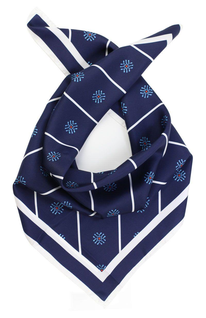 f4176fcc7ca6 custom printed ladies silk scarf in royal blue with logos   Our ...